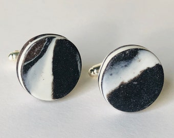 Silhouettes-Stunning pair of contemporary porcelain OOAK cufflinks made entirely by hand from finest French Limoges porcelain