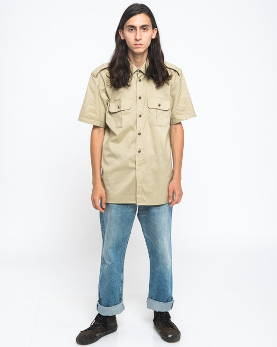 MILITARY SHIRT  military green with pockets / nos