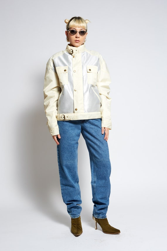 ACID Barbour style metallic bicolor silver jacket