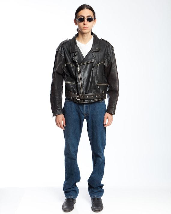 BIKER BLACK LEATHER jacket, 1980s original leather