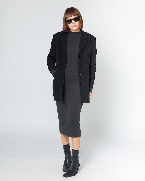 BLACK LONG BLAZER, shoulder padded suit pencil jac