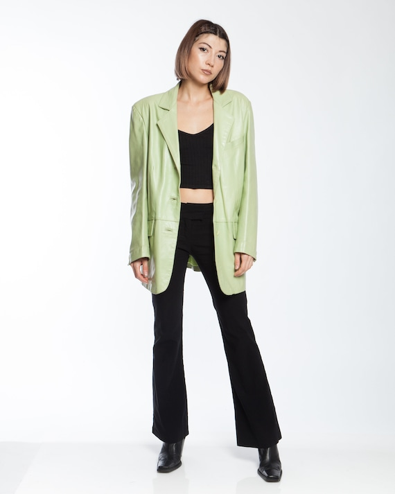 PASTEL GREEN LEATHER suit jacket real leather, ove