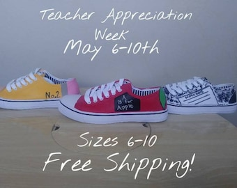 f1d6a7ad11 School Themed Painted Canvas shoes-Back to school-Teacher  Appreciation-Graduation gifts- Gifts for teachers-Unique gifts-Gifts for  caregiver