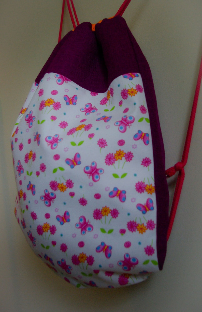 Women/'s Rucksack Recycled Backpack with String GYM Bag Sack Pack Eco friendly bag Up-cycled drawstring backpack with Butterflies