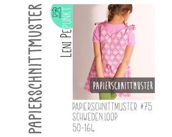 """Paper cut pattern """"Swedenloop"""" by LeniPepunkt, dress, woven dress, double sizes 50/56-158/164, sewing pattern"""