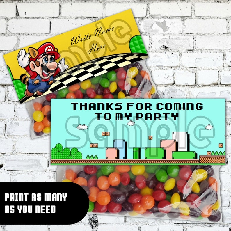 Super Mario Brothers 3 Printable Birthday Party Treat Bag Topper