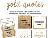 40 Positive Motivational Instagram Gold Quotes |Social Media | Instant Download | Gold & Black | JPEG | PNG | Canva | Free Bonus Frames