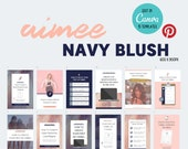 15 Editable Pinterest Canva Templates | Social Media | Aimee Navy Blush Blue Pink | Customize | Custom | Quotes | Free Mood Board