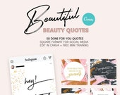 50 Beautiful Beauty Instagram Quotes |Social Media | Instant Download | Pink, Gold, Brown & Black | Canva Editable Templates