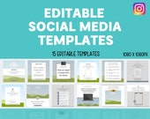 15 Editable Social Media Canva Templates Bundle | Instagram | Blank Templates | Custom | Free Quotes