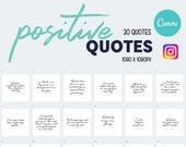 Done For You Positive Quotes 30 Set Template Bundle For Instagram Social Media Instant Download | Canva Templates