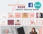 37 Editable Social Media Canva Templates Bundle | Facebook | Custom | Free Quotes | Meghan Rose