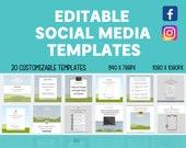 30 Editable Social Media Canva Templates Bundle | Facebook | Instagram | Custom | Free Quotes