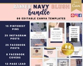 Aimee Navy Blush Bundle Canva Template