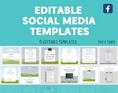 15 Editable Social Media Canva Templates Bundle | Facebook | Custom | Free Quotes