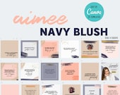 25 Editable Social Media Canva Templates | Instagram | Aimee Navy Blush Blue Pink  | Customize | Custom | Quotes