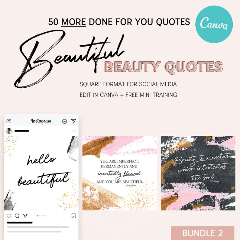 50 MORE Beautiful Beauty Instagram Quotes Bundle 2 Social image 0