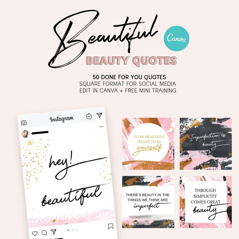 50 Beautiful Beauty Instagram Quotes Social Media  Instant image 0