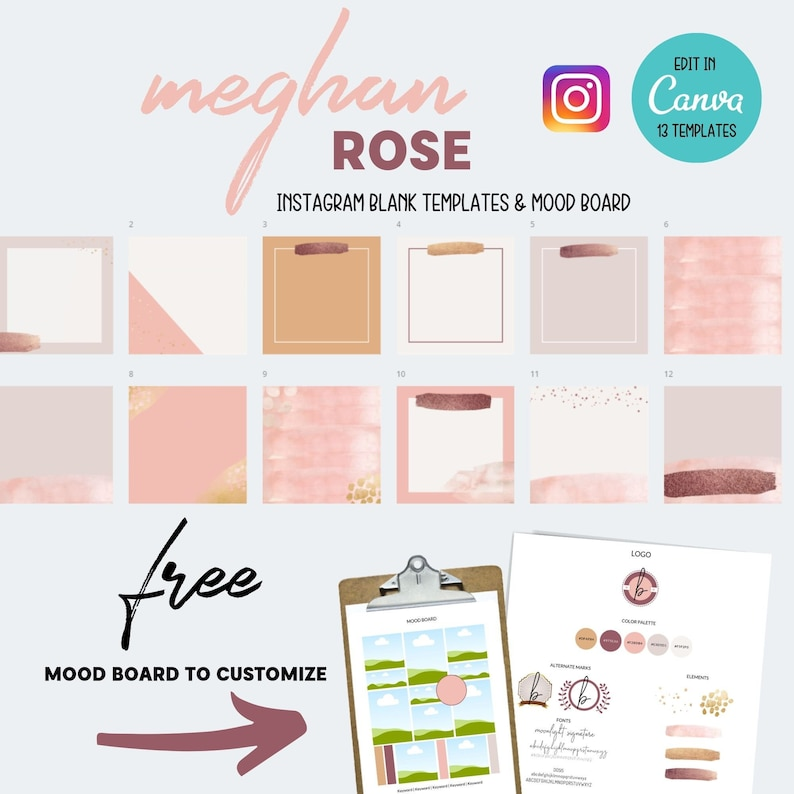 13 Editable Social Media Canva Blank Templates  Instagram  image 0