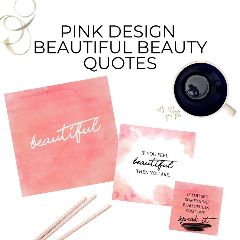 50 Pink Design Beautiful Beauty Quotes Canva Editable Template image 0