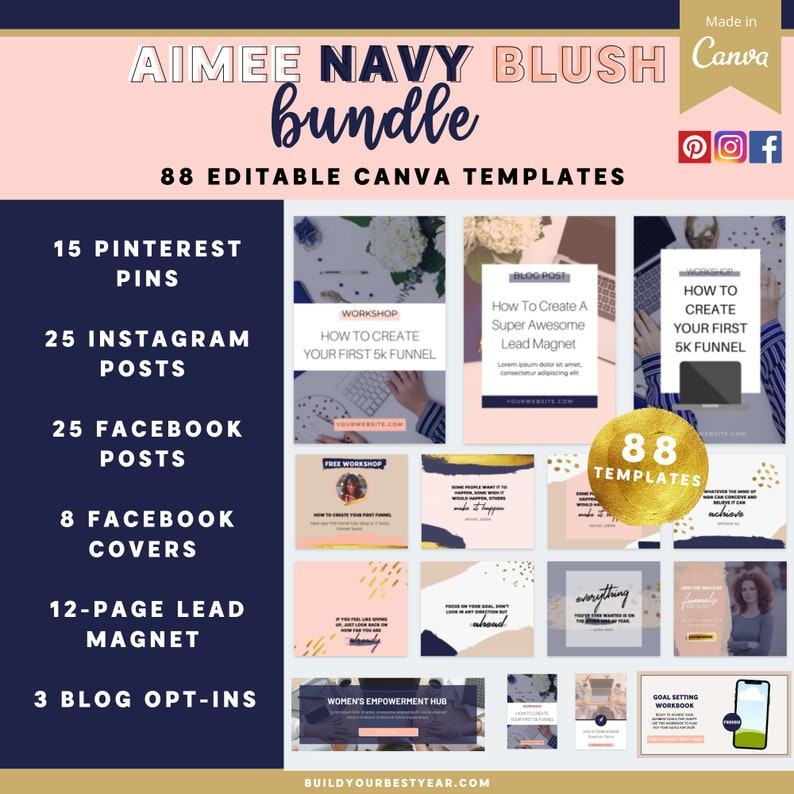 Aimee Navy Blush Bundle Canva Template image 0