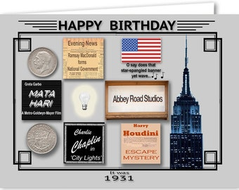 88th Birthday Card Souvenir Of 1931