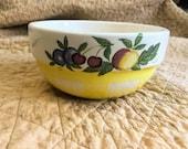 Vintage Crock Shop Santa Ana Pottery Mixing Bowl, Yellow Checkered, Fruit Motif