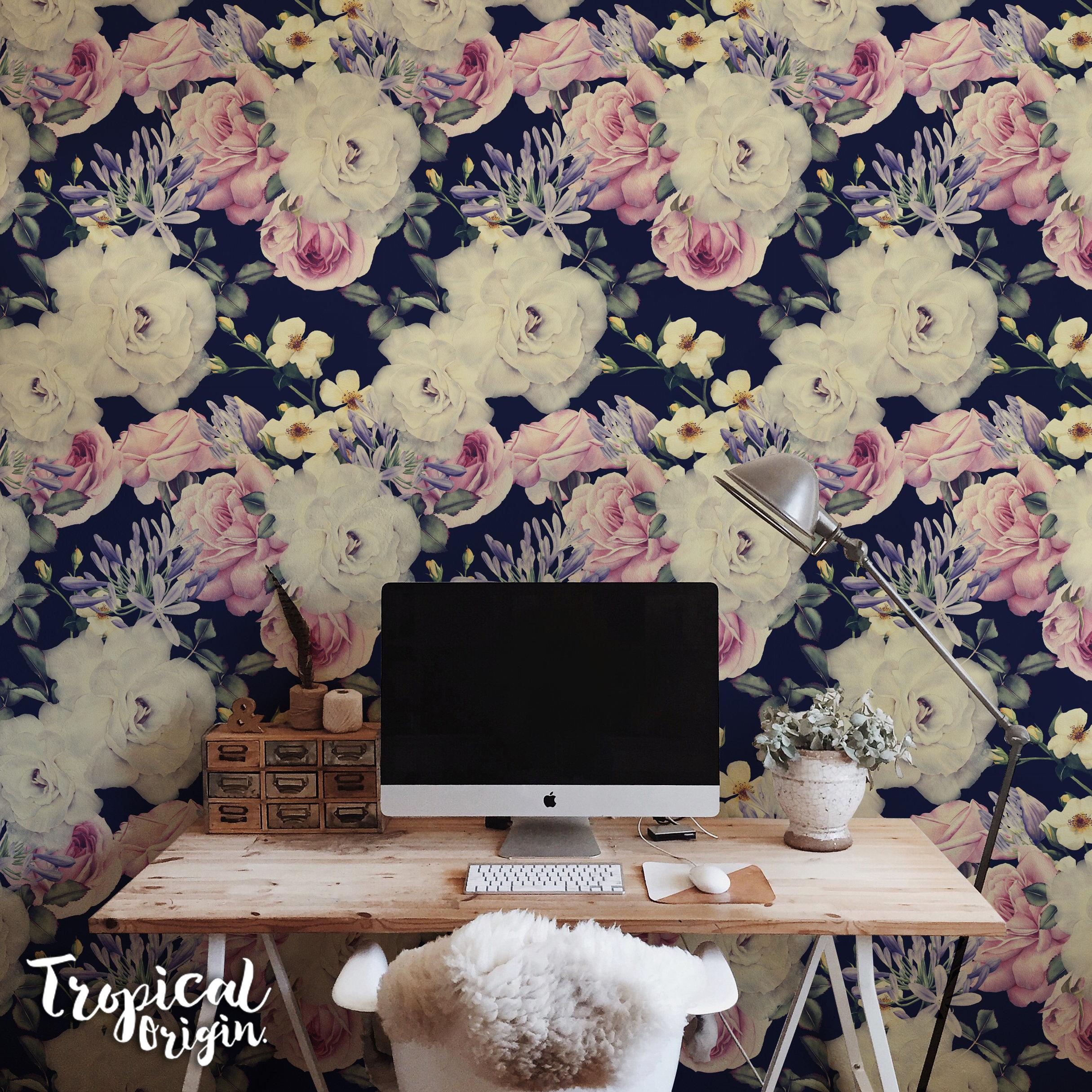 Dark Floral Removable Wallpaper White Pink Roses Vintage Etsy