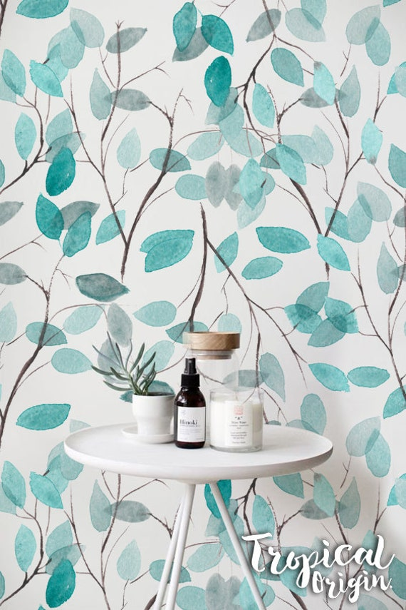 Mint Branches Removable Wallpaper Watercolor Spring Leaves Repositionable Wall Mural 27