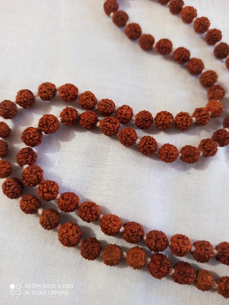 Rudraksha Japa Mala Genstone Round Beads Japa Mala Guru bead  Long Tassel Necklace