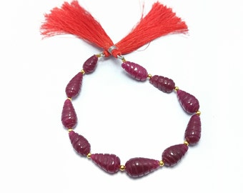 Ruby Carving Tear Drop String  Fine Quality Ruby Carving String Gemstone