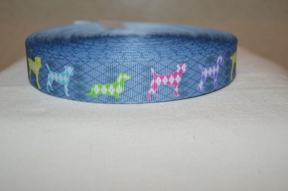 """Dog Paw Print Colourful Grosgrain Ribbon 7//8/"""" 22mm DIFFERENT COLOURS"""