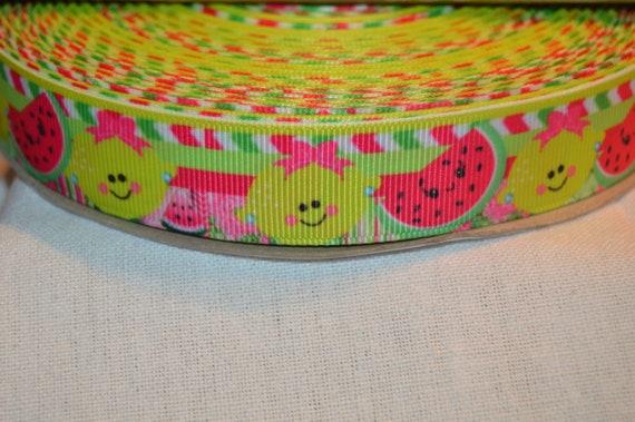 "GLITTER Watermelon 7//8/"" wide grosgrain ribbon 5 yards listing"