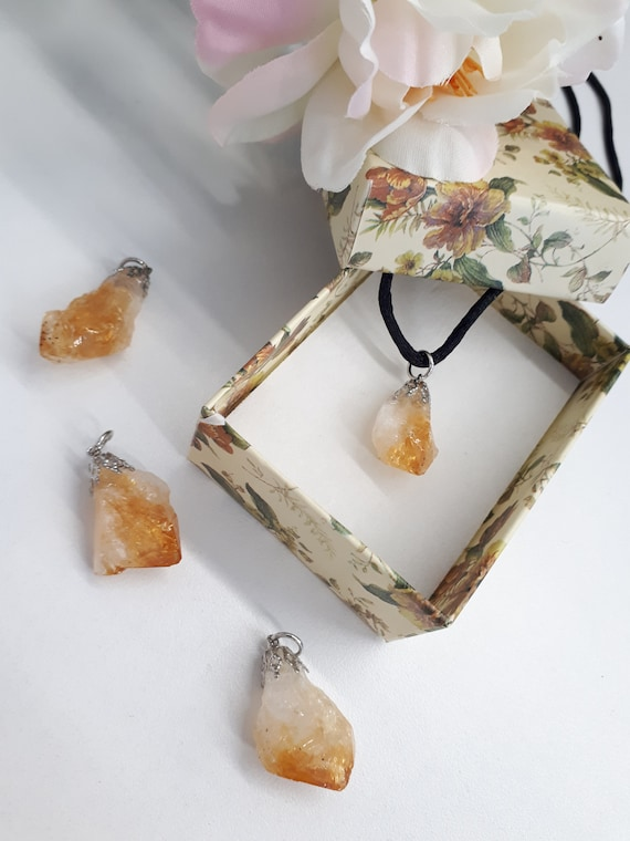 For Women Her Chakra Raw Crystal Healing Necklace Pendant Raw Stone Gift Crystal Citrine Point Raw Citrine November Birthstone Necklace
