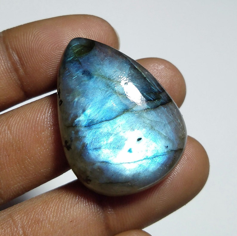 Natural Top Quality  Labradorite stone  Cabochon Loose stone Hand polish stone Gemstone  for jewelry stone 50  Ct{ 33 X 24 } mm #1556