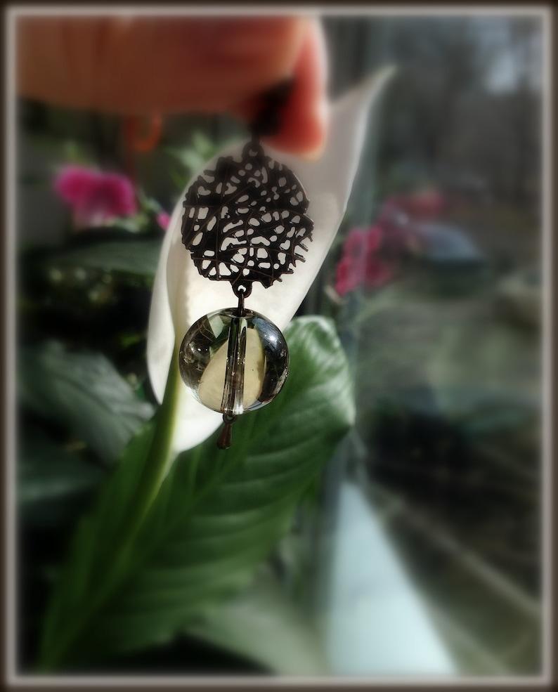 Boho/&Hippie earrings Bronze color metal Ethnic style Semiprecious stone Pendant earrings Ethnic jewelry Bijouterie Ball quartz beads