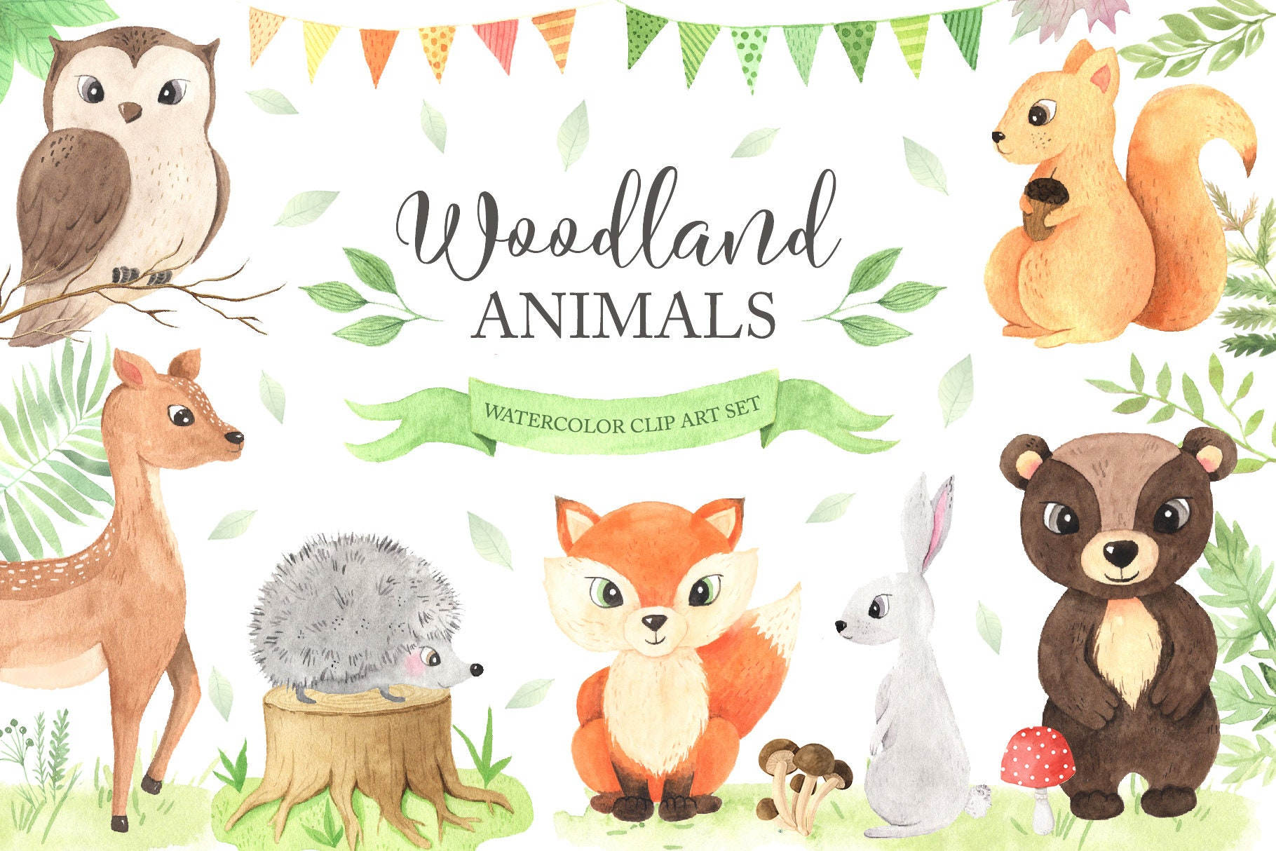 Woodland Animals Clipart. Watercolor baby fox, bear, birds and florals clip  art. Baby shower, birthday party set PNG files DIY 10
