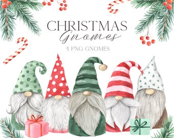 Christmas Gnome Clipart. Watercolor Scandinavian cute gnomes and holiday decor clip art perfect for new year planner, scrapbooking PNG 359
