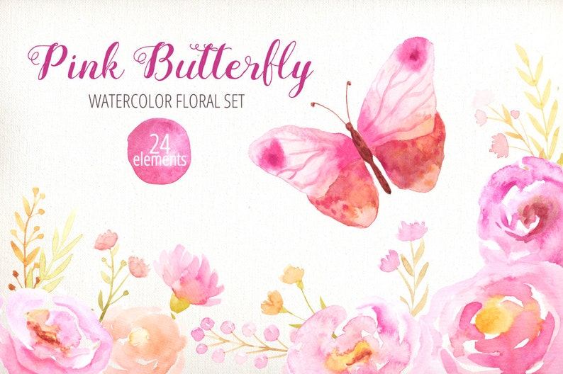 Delicate florals and butterfly Watercolor Flowers Pink Clipart digital for instant download wedding ivitation set PNG files DIY 9