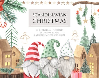 Scandinavian Christmas Clipart. Watercolor Winter cute gnomes and holiday decor clip art perfect for new year planner, scrapbooking PNG 365