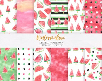 Watermelon summer digital paper. Watercolor tropical fruit seamless paper pack 12''x12'' JPG. Digital  download printable paper set 293