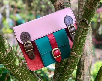 sustainable recycled multi-coloured leather messenger Coloured leather satchels unique shoulder bag crossbody womens coloured leather bag
