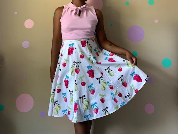 Women's Vintage Fruit Print Skirt Size: 2P