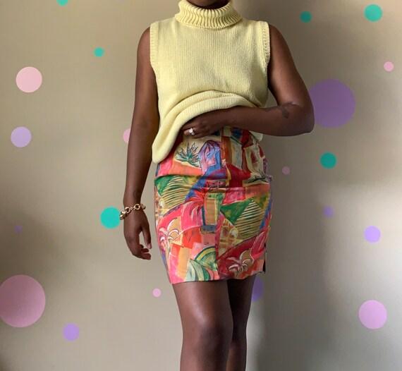 Women's Vintage Abstract Mini Skirt