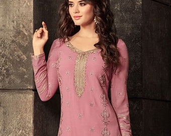 6d5a90b851 Georgette Straight Suit - Pink/Gold Embroidedred
