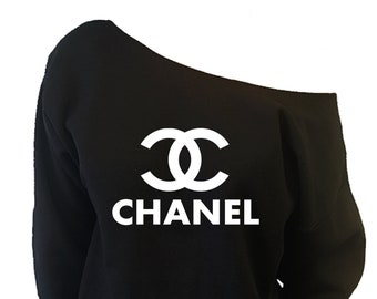 5280a034065c Chanel - Slouchy Wide Neck Sweater Sweatshirt - Off-The-Shoulder Slouchy  Sweatshirt XS-2X   sp-03051-white