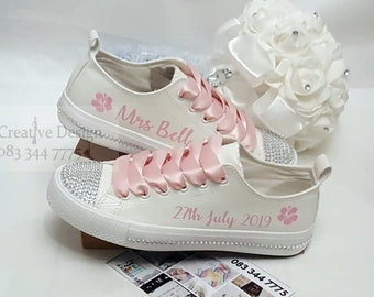 9e7d6c9a36f8 Personalised White Leather Effect Canvas Shoes Custom Twinkle Toes Diamanté  Rhinestone Satin Laces Custom Trainers sneakers runners pumps