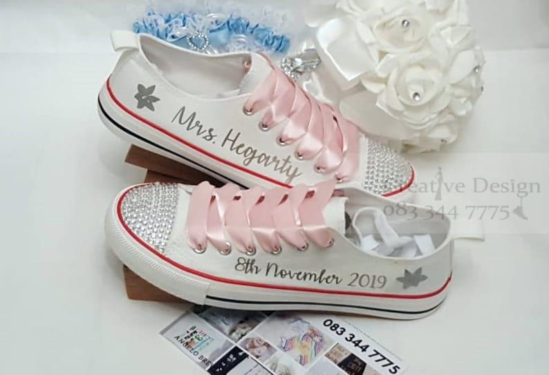 9fd6d83d54 Personalised Wedding Canvas Shoes Bride Trainers Pumps Runners Sneakers  Bejazzled Diamanté Canvas Shoes Maid Honour Bridesmaid Flower girl