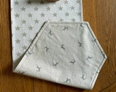 Two Fabric Festive Table Runner, Stag and Star Print Runner, Double Sided Table Runner