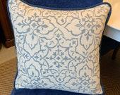Tabriz Cushion, Blue & White Cushions, Scatter Cushion, Piped Cushion